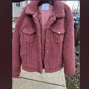 Urban Outfitters medium Mauve teddy Sherpa coat